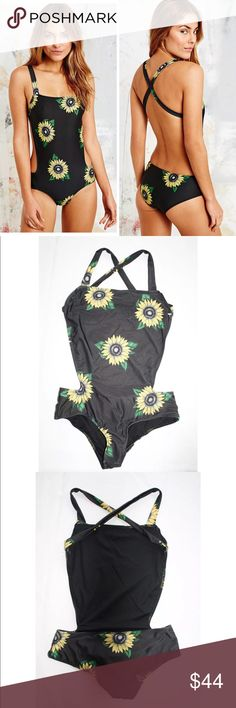 BEACH RIOT URBAN OUTFITTERS SUNFLOWER SWIMSUIT Beach Riot X UO Cross-Back One-Piece Swimsuit  Urban Outfitters exclusive  $135 retail price  Condition: New; inside label is marked to prevent retail returns  Material: Polyester/Spandex  Details: UO teamed up with the swimwear experts at Beach Riot to design this special swimsuit, just for you. Sunny one-piece fitted with full lining and finished with crisscross-straps at the back. Unpadded. Hand wash. Beach Riot Swim One Pieces