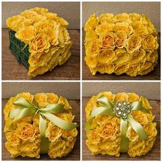 Centro mesa flor cojin cuadrado lazo modern elegant amarillo DIY Centerpieces