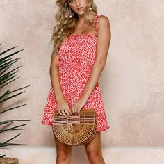 65af7c9bfe Women Dress Limsea Summer Sexy Print Floral Beach Sling Sleeveless Mini  Dress     To