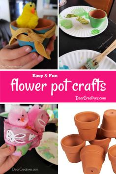 Crafts for kids - Are you looking for fun crafts to do with the kids? Seasonal crafts, ideas for kids of all ages, crafts resources, images and instructions Fun Crafts For Kids, Art For Kids, Activities For Kids, Arts And Crafts, Flower Pot Crafts, Reuse Recycle, Flower Seeds, Ribbon Colors, Painting For Kids