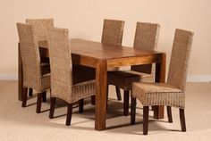 RATTAN/WICKER CHAIRS DAKOTA MANGO TABLE 6 SEATER DINING SET INDIAN FURNTURE NEW