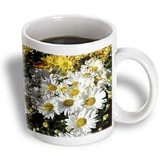 ($14.99) White and Yellow Mums- Autumn Flowers- Floral Photography - 15oz Mug From 3dRose LLC