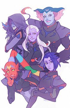 Lotor and his generals: (Left-Right) Narti, Zethrid, Lotor, Ezor, Acxa. Thought I should include their names b/c I couldn't remember them until I finally looked it up.