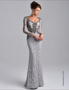 Silver Grey Long Sleeves Mermaid Mother of the Bride Lace Dresses Beaded Saudi Arbia Long Evening Party Gowns Plus Size Mother Formal Dress