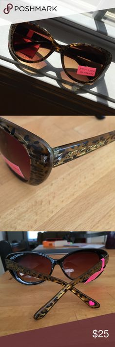 Betsey Johnson Large cat eye sunglasses Animal print with semi translucent gold/brown frames.  Fabulous. Betsey Johnson Accessories Sunglasses