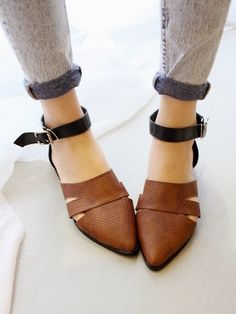 ankle strap brown pointed flats.
