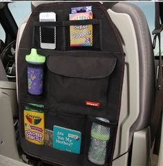 Car Seat Bag Storage by Baby in Motion Would also work welk turned around to store things in passenger seat if you are traveling alone.