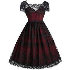 Vintage Square Neck Lace Dress (92 PLN) via Polyvore featuring dresses, square neckline dress, square neck lace dress, square neck dress, vintage dresses i lacy dress