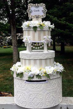 Wedding Cake Money Card Box,white roses,white wedding reception,white wedding dress,victorian wedding ideas,wedding reception decorations