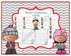 Winter Vocabulary Cards from Preschool Printables on TeachersNotebook.com -  (24 pages)  - Winter Vocabulary Words  80 Vocabulary cards 12 pages for writing exercises
