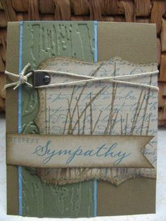 Inspired by Nature, French Script, and CTMH's Card Chatter stamp sets, Soft Suede, Marina Mist, Always Artichoke, and Crumb Cake cardstock and inks, Top Note Die, Clear embossing powder, Aged Copper hardware, Tim Holtz embossing folder and twine.