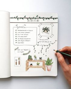 Bullet journal yearly goals, cursive headers, plant drawings. @vin.ne.ye