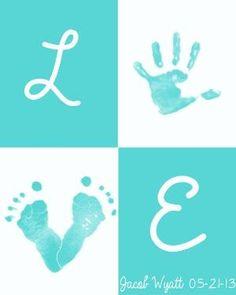 LOVE baby prints! Printable, DIY handprint/ footprint art by Caiteyb