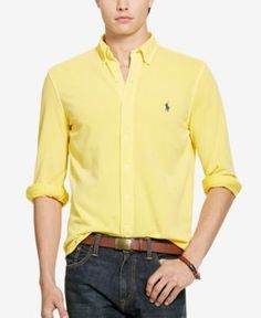 Polo Ralph Lauren Men's Featherweight Mesh Shirt - Yellow S