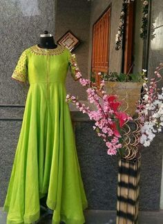 Beautiful Silk parrot green dress with hand embroidery. Indian Designer Outfits, Indian Outfits, Designer Dresses, Indian Gowns Dresses, Pakistani Dresses, Kurta Designs, Blouse Designs, Green Dress Outfit, Long Gown Dress
