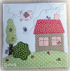 House Quilt Patterns, House Quilt Block, Mug Rug Patterns, House Quilts, Quilt Blocks, Free Motion Embroidery, Applique Embroidery Designs, Applique Patterns, Applique Quilts