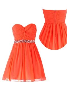 Simple Dress 2015 A-line Sweetheart Ruched Chiffon Beading Homecoming Dress CHHD-80021