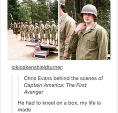 *cries* he's kneeling on a box :D