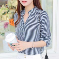 Find More Blouses & Shirts Information about Women Blouses Rushed Barry Ma Shirt Female New Spring And Summer 2014 Sleeved Collar Ol Vertical Stripes Loose Code Chiffon Girl,High Quality Blouses & Shirts from RAINBOW HALL on Aliexpress.comUS $18.79