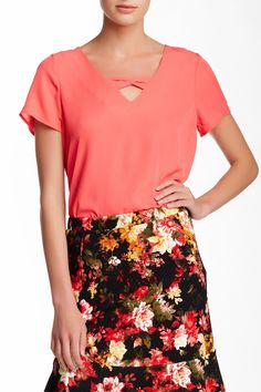 Pleione | Bow Front Short Sleeve Blouse | Nordstrom Rack