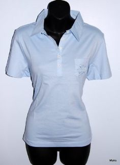 Ladies Embroidered Short Sleeve Sky Blue Euro Polo Tops EuroBrands. $12.99