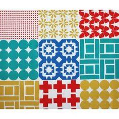 Stamped Cotton Linen Blend Fabric by Ellen Baker for Kokka