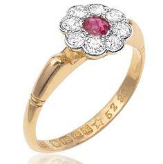 Daisy Delight... Original 1920s Ruby and Diamond ring