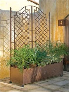 Planter Trellis Garden With Planters Box Privacy Screens Outdoor Home Depot Boxe - All About Balcony Patio Trellis, Iron Trellis, Planter Box With Trellis, Metal Trellis, Metal Planter Boxes, Large Planters, Planter Ideas, Planter Garden, Outdoor Retreat