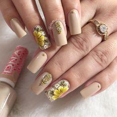 Square Nail Designs, Gel Nail Designs, Best Acrylic Nails, Gel Nail Art, Nail Printer, Basic Nails, Square Nails, Flower Nails, French Nails