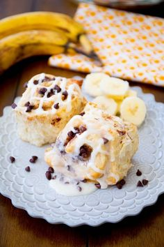 Sinfully delicious cinnamon rolls filled with bananas, chocolate chips, and drizzled with thick vanilla glaze.
