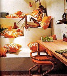 Gorgeous 70s orange accented decor, 1970s.