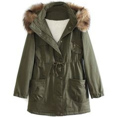 Military Green Pocket Detail Detachable Faux Fur Hood Parka Coat ($100) ❤ liked on Polyvore featuring outerwear, coats, green parka, parka coat, military fashion, faux fur hood coat and military style coat