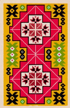 Byelorussian pattern (from the Patterns of the Soviet Republics postcard set, 1970)