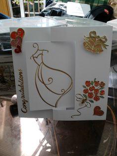 shaped hand made wedding card