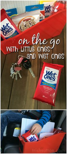 Follow along to create your own backseat boredom buster for kids. A fun filled 'On The Go With Little Ones & Wet Ones' Caddy. #GrabAWetOnes #ad http://cbi.as/1sin5 ~ A travel kit for kids by TrishSutton.com