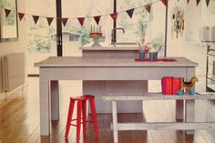 Kitchen table and bunting