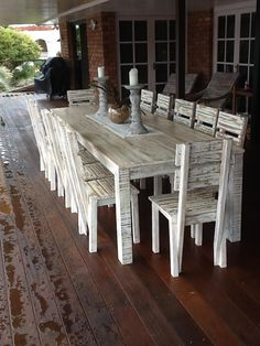 White Wash 14 Seater Setting Recycled Timber Furniture  Www.recycledbyluke.com.au Part 91