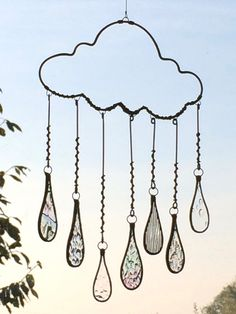 Frozen raindrop cloud with stained glass droplets http://stainedglassworks.co.uk/shop/product/frozen-raindrop-cloud-large/