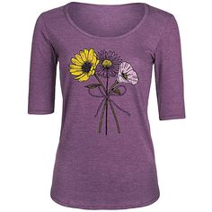 LC Trendz Women's Heather Purple Wildflower Bouquet Three-Quarter... ($17) ❤ liked on Polyvore featuring tops and t-shirts