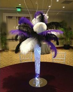 Reverse Trumpet Ostrich Feather Centerpiece Kits with/Holly wood glam/Great Gatsby/Bling/Tall Centerpieces/Eiffel Tower Vase Masquerade Party Decorations, Masquerade Theme, Masquerade Ball, Balloon Centerpieces, Wedding Centerpieces, Chandelier Centerpiece, Tall Centerpiece, Centrepieces, Glow Stick Wedding