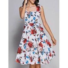 #AdoreWe trendsgal.com Womens - Trendsgal - Retro Rose Print Sweetheart Neck Bowknot Embellished Dress - AdoreWe.com