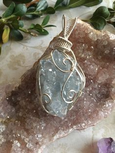 Raw Celestite Crystal Healing Pendant...Wrapped in Silver Wire