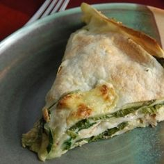 Spinach, chicken, and tortilla bake.