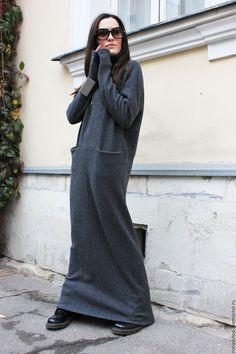 Купить Длинное платье May Be - темно-серый, платье, платье в пол