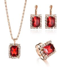 Red crystal jewelry set