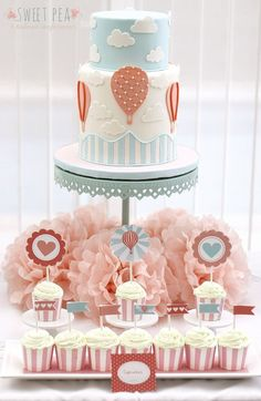 Hot Air Balloon Themed Baby Shower - So cute and I love color scheme Baby Shower Cupcakes For Girls, Pop Baby Showers, Baby Shower Cake Pops, Girl Cupcakes, Baby Shower Balloons, Birthday Balloons, Baby Shower Themes, Baby Boy Shower, Birthday Parties