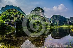 Beautiful lake with the view of mountains-Vietnam