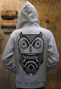 Aztec Owl Zip Hoodie.