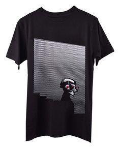 Awesome Black Tshirt for men - Electronica Daft Punk black cotton men printed t shirt-Front-Smokedclothing.com