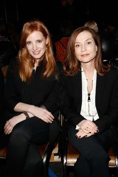 Givenchy - Fall 2015 Ready-to-Wear - Front Row - Jessica Chastain and Isabelle Huppert